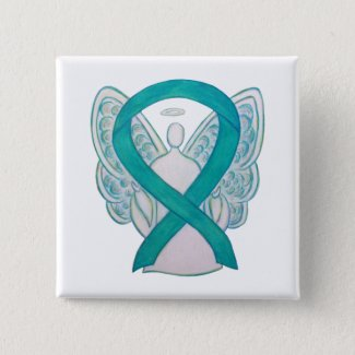 Teal Angel Awareness Ribbon Art Custom Lapel Pin