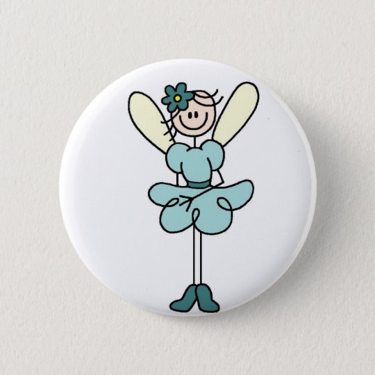 Teal Angel Fairy Button