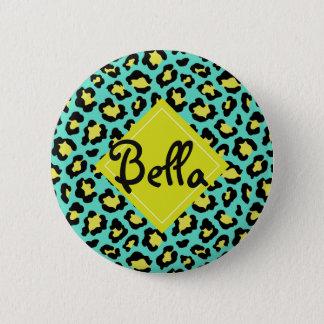 Teal Animal Print Pinback Button
