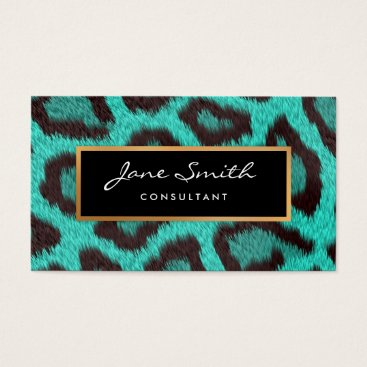 Professional Business Teal Animal Skin, Leopard, faux Gold Foil Business Card