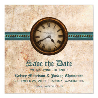 Teal Antique Clock Save the Date Announcement