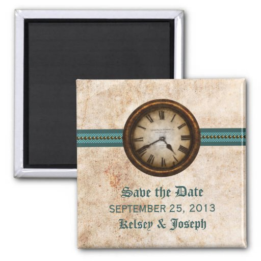 Teal Antique Clock Save the Date Magnet