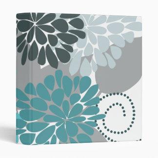 Teal Aqua Abstract Floral Vector Fine Art Binder