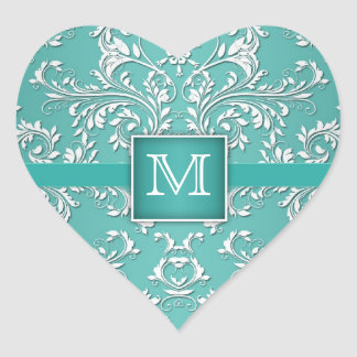 Teal Aqua and White Damask Monogram Heart Stickers
