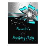 Teal Aqua Black Silver Bow Pearl Birthday Party 5x7 Paper Invitation Card