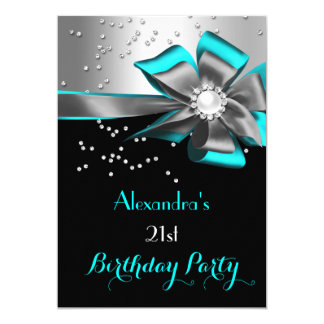 Teal Aqua Black Silver Bow Pearl Birthday Party Card