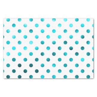 "Teal Aqua Blue Metallic Faux Foil Polka Dot White 10"" X 15"" Tissue Paper"
