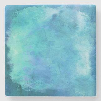 Teal Aqua Blue Teal Watercolor Texture Pattern Stone Beverage Coaster