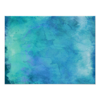 Teal Aqua Blue Teal Watercolor Texture Pattern Poster