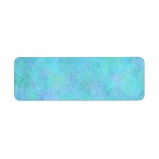 Teal Aqua Blue Watercolor Background Pattern Return Address Label