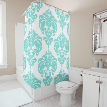Aqua Teal Aqua Blue & White Royal Glam Damask Shower Curtain