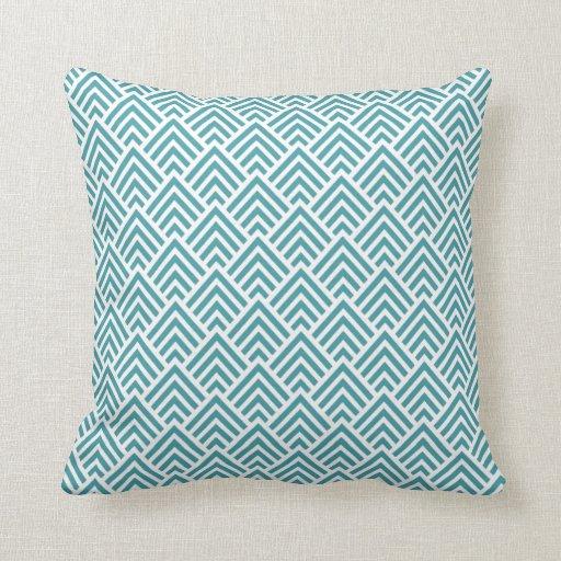 Teal Aqua Chevron Chic Geometric Pattern Elegant Pillows ...