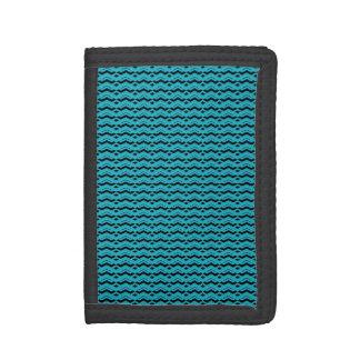 Teal Aqua Chevron Pattern Striped Texture Trifold Wallet
