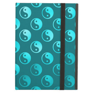 Teal Aqua Faux Metallic Yin Yang Taoism Balance Case For iPad Air