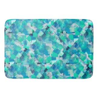 Teal Aqua Geometric Bathmat