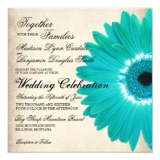 "Teal Aqua Gerber Daisy Rustic Wedding Invitations 5.25"" Square Invitation Card"