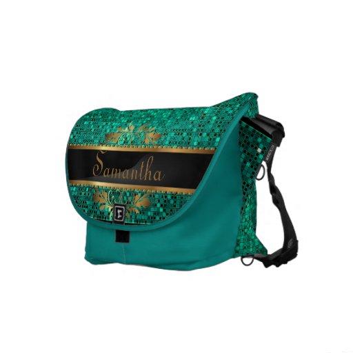 Teal Aqua Glitter Sequin Disco Glitz Messenger Bag