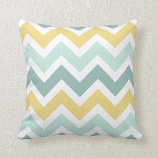 Teal Aqua Gold Zigzag Chevron Pattern Throw Pillow