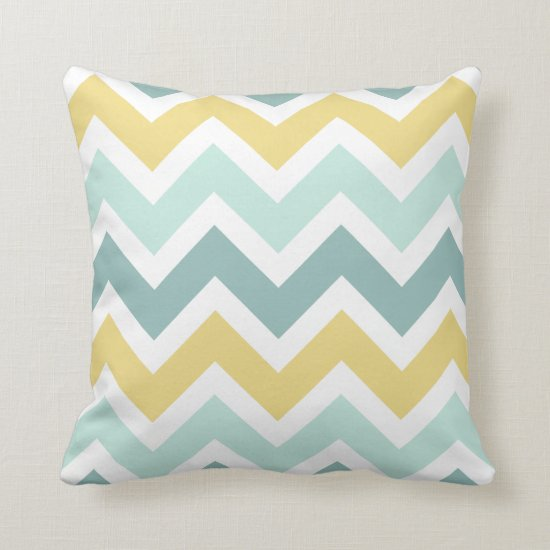 Teal Aqua Gold Zigzag Chevron Pattern Throw Pillow