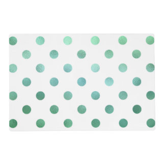Teal Aqua Green Metallic Faux Foil Polka Dot White Placemat