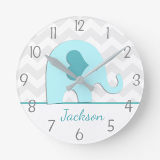 Teal Aqua Grey Elephant Nursery Wall Clock