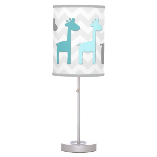 Teal Aqua Grey Giraffe Nursery Lamp
