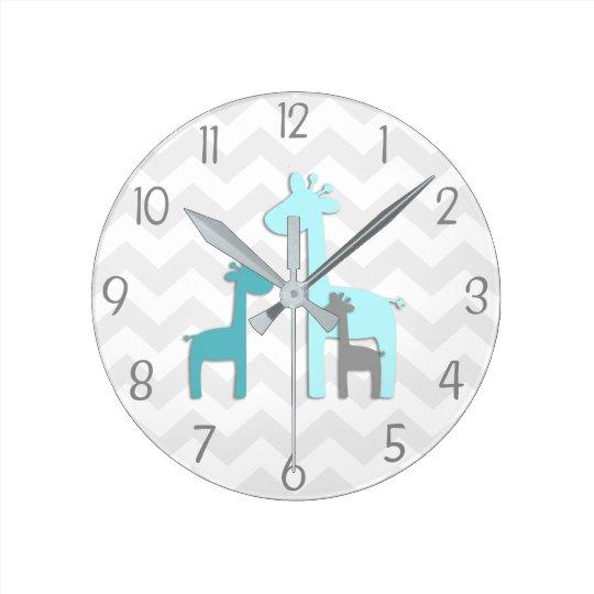 Teal Aqua Grey Giraffe Nursery Wall Clock
