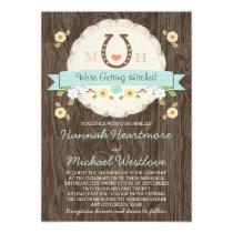 Teal Aqua Horseshoe Heart Western Wedding Card