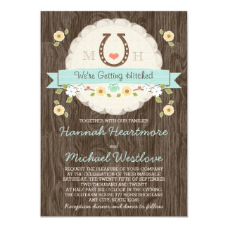 Teal Aqua Horseshoe Heart Western Wedding Card