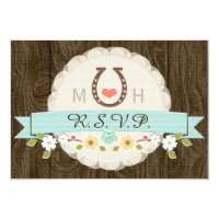 TEAL AQUA HORSESHOE WESTERN WEDDING RSVP CARD
