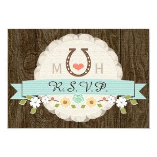TEAL AQUA HORSESHOE WESTERN WEDDING RSVP CARD