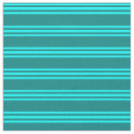 [ Thumbnail: Teal & Aqua Lines Pattern Fabric ]