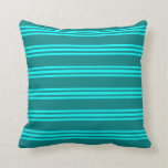 [ Thumbnail: Teal & Aqua Lines Pattern Throw Pillow ]