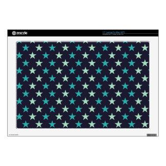 """teal aqua punk night sky stars pattern 17"""" laptop skin"""