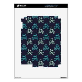 teal aqua punk skull and crossbones pattern decals for iPad 2