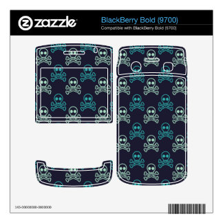 teal aqua punk skull and crossbones pattern BlackBerry bold decal