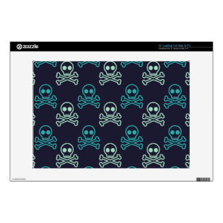 "teal aqua punk skull and crossbones pattern skin for 13"" laptop"