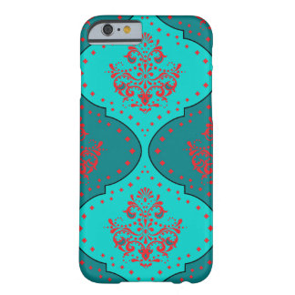 teal aqua red henna mod damask pattern barely there iPhone 6 case