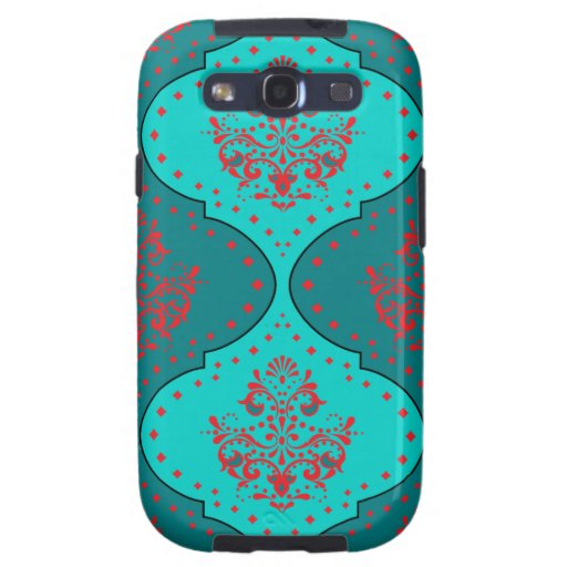 teal aqua red white henna style damask galaxy s3 cover