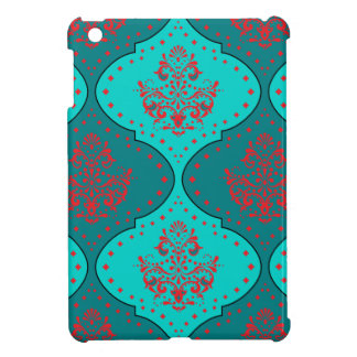 teal aqua red white henna style damask iPad mini case