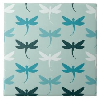 Teal Aqua Small Dragonfly Decorative Ceramic Tiles