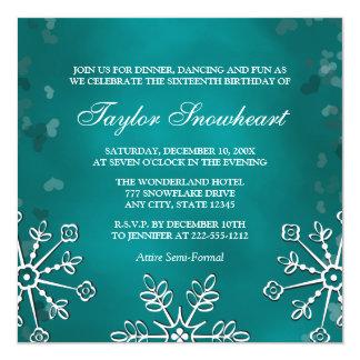 TEAL AQUA SNOWFLAKE SWEET SIXTEEN BIRTHDAY 5.25X5.25 SQUARE PAPER INVITATION CARD