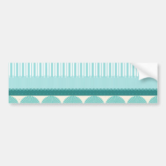 Teal Aqua Turquoise Blue Stripes Circles Pattern Bumper Sticker
