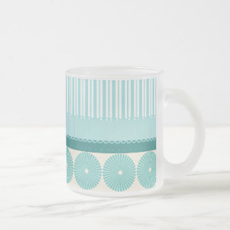Teal Aqua Turquoise Blue Stripes Circles Pattern 10 Oz Frosted Glass Coffee Mug