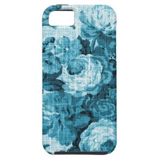 Teal Aqua Vintage Floral Toile Fabric No.4 iPhone SE/5/5s Case