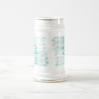 Teal aqua watercolor abstract beer stein