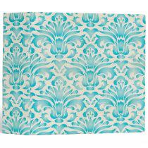 Teal Aqua Watercolor Damask Ombre Blue Print Binder