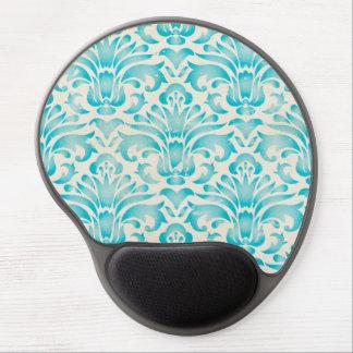 Teal Aqua Watercolor Damask Ombre Blue Print Gel Mouse Mat