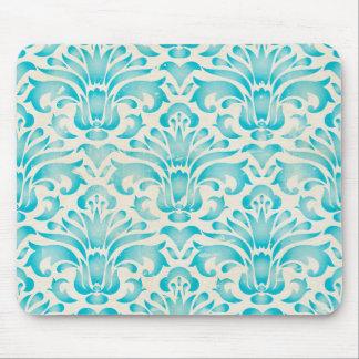 Teal Aqua Watercolor Damask Ombre Blue Print Mousepads