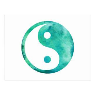 Teal Aqua Watercolor Yin Yang Taoism Balance Postcard